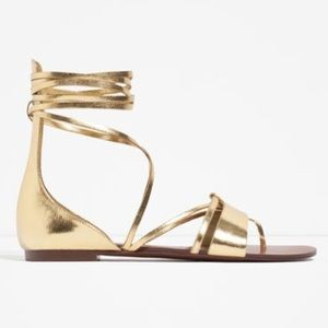 Zara Gold Metallic Lace Up Sandals